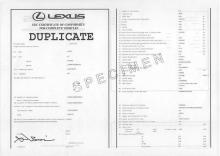 Lexus certificate of conformity